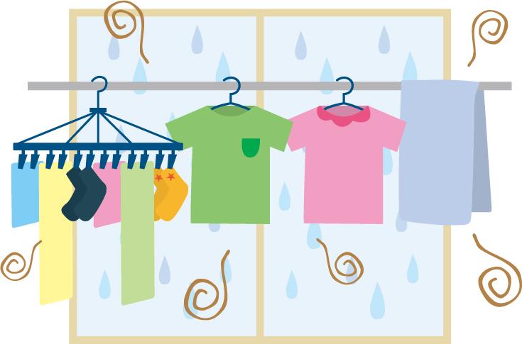 洗濯物の部屋干しの生乾き臭のイメージ画像