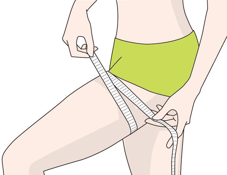 太ももの太さを計測する女性のイメージ画像