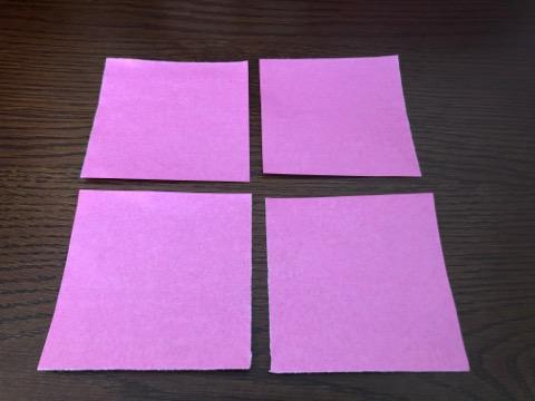 桃の花を折り紙の手順1
