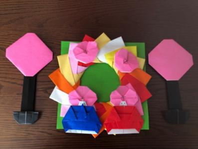 ひな祭りの折り紙の完成品