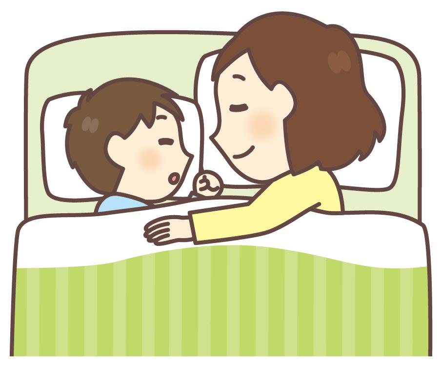 一緒に寝る親子のイメージ画像