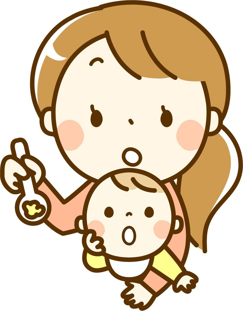 赤ちゃんに離乳食をあげる母親のイメージ画像