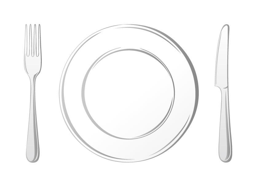 お皿とフォークとナイフのイメージ画像