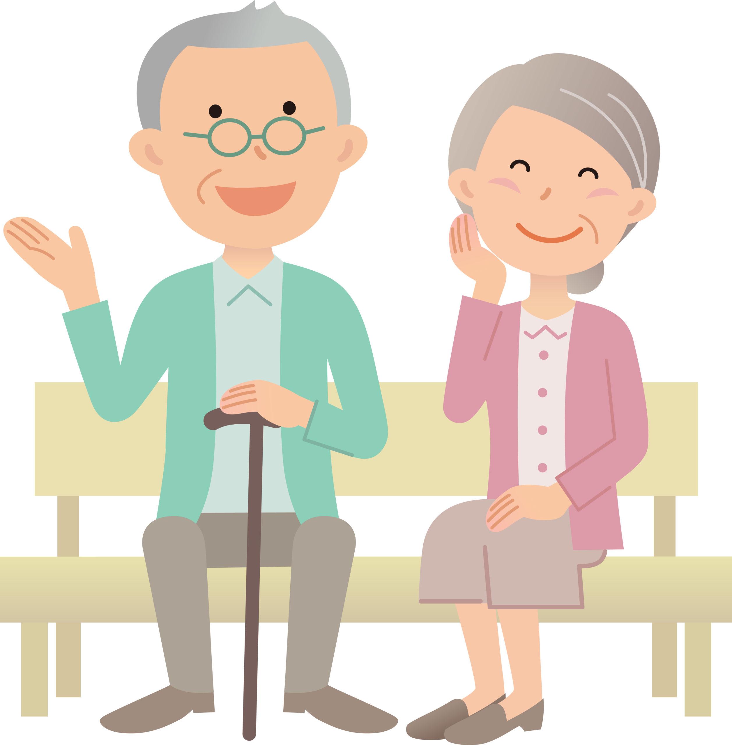 ベンチに座る老夫婦のイメージ画像