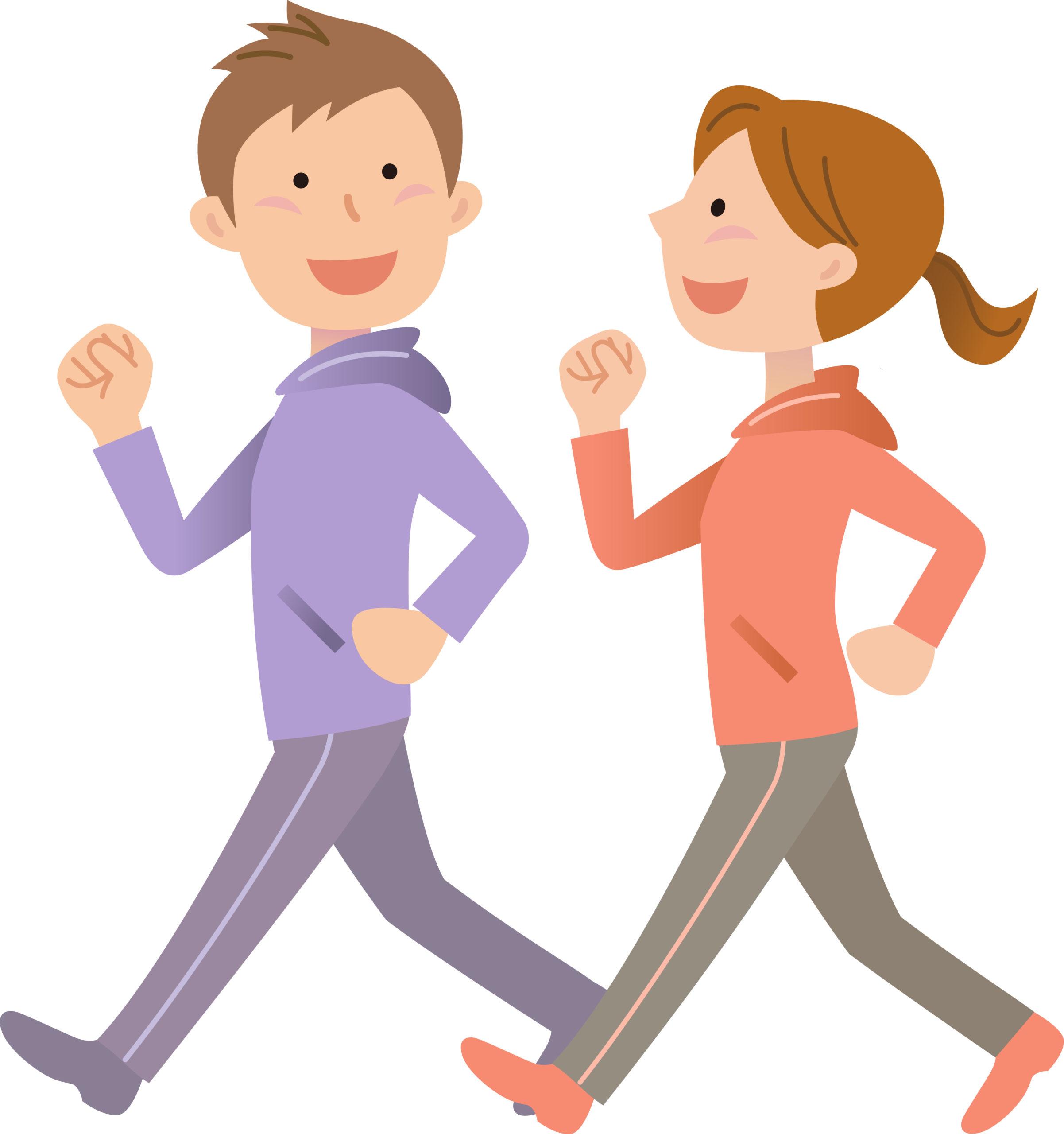 歩く若いカップルのイメージ画像