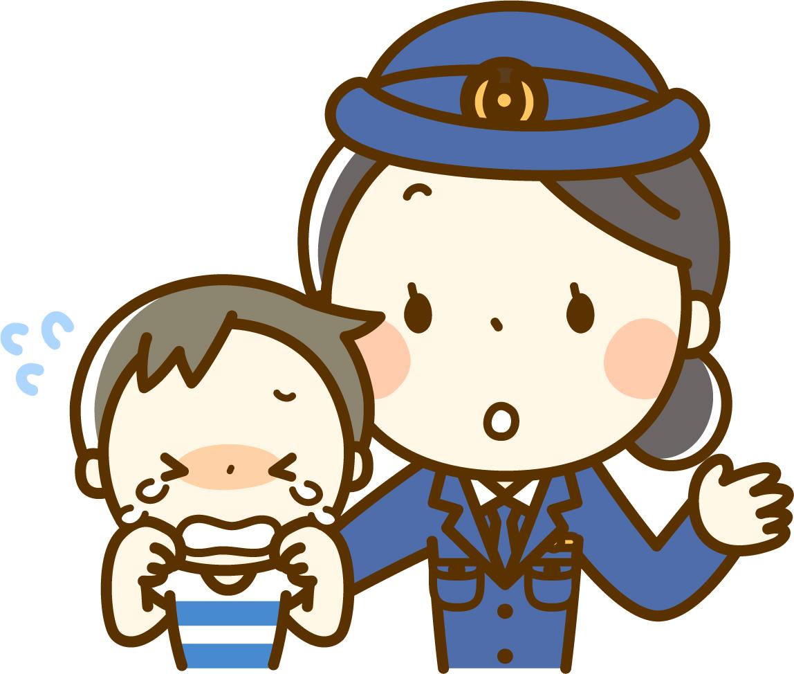 泣いた子供に対応する婦警さんのイメージ画像